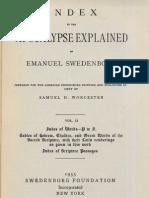 INDEX to the APOCALYPSE EXPLAINED of Emanuel Swedenborg Volume 2 Index of Words P to Z Samuel H. Worcester Swedenborg Foundation New York 1955
