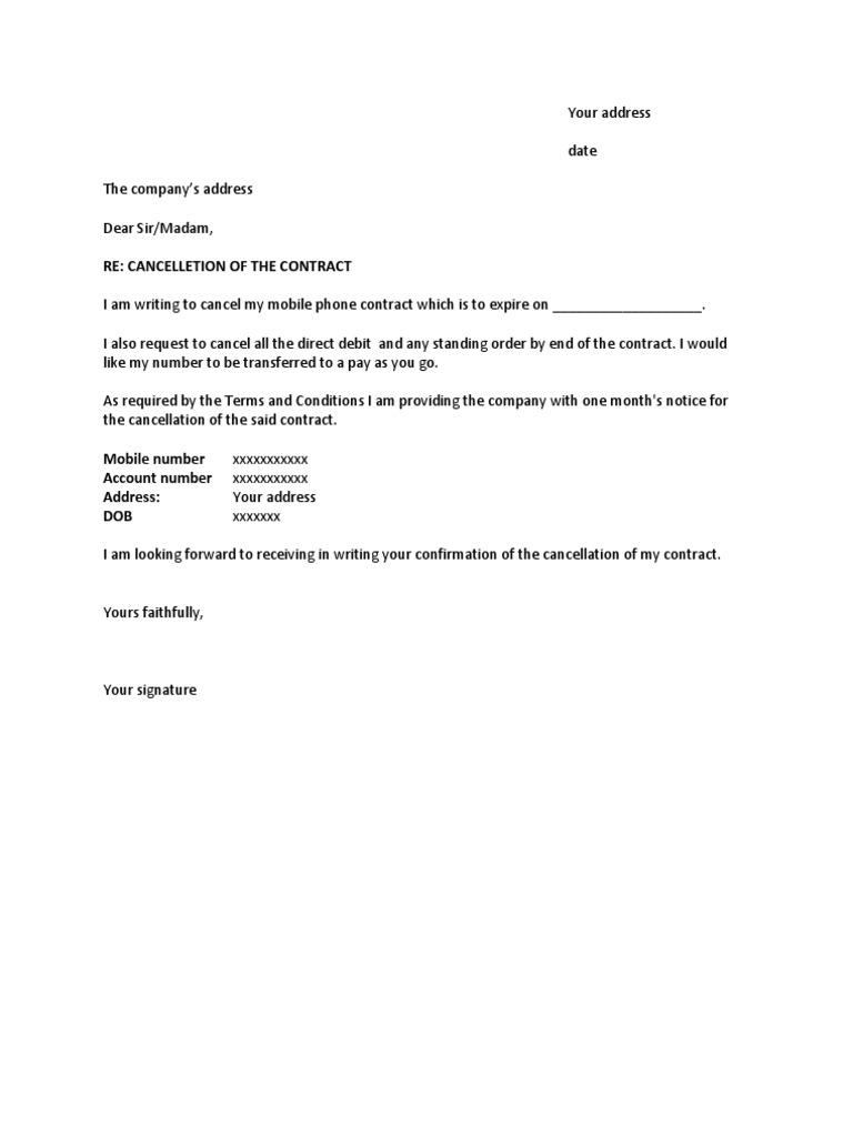 mobile phone cancellation letter letter of contract cancellation