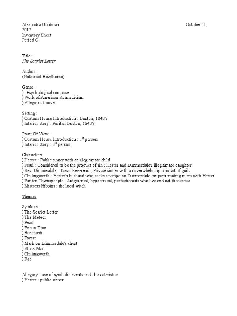 Inventory Scarlet Letterc The Scarlet Letter Allegory