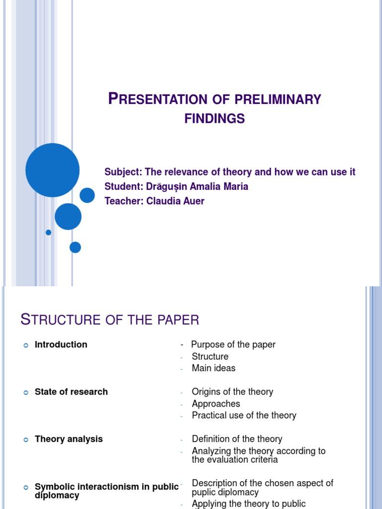 Presentation Of Preliminary Findings Self Academic Discipline