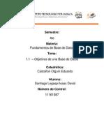 1.1 Objetivos Base de Datos