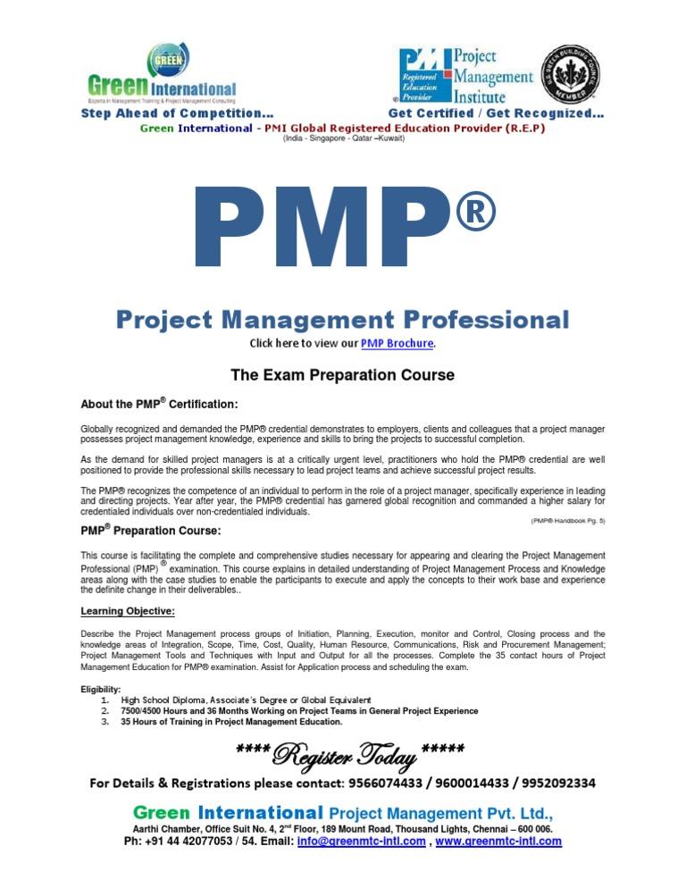 Pmp Brochure Project Management Professional Project Management