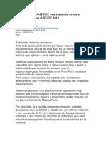 CARTA de PROMPERU cancelando la ayuda a músicos peruanos al South by Southwest (SXSW) 2013