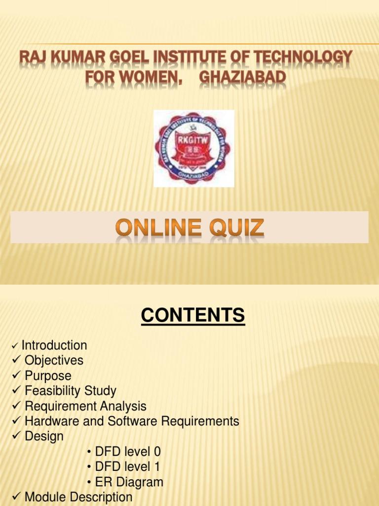 Online quiz feasibility study test assessment ccuart Choice Image
