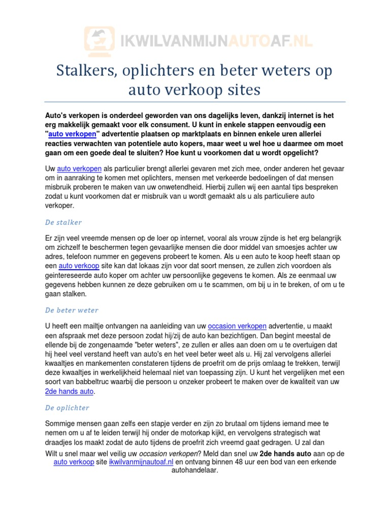 Stalkers Oplichters En Beter Weters Op Auto Verkoop Sites