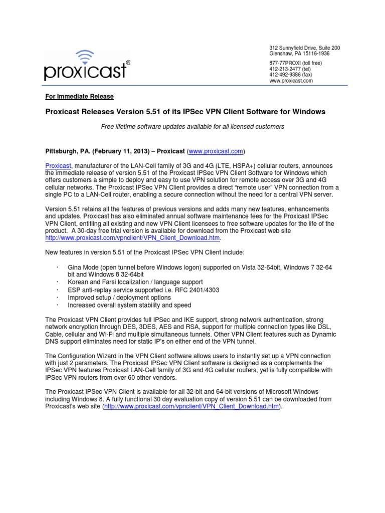 Proxicast Releases Version 5 51 of its IPSec VPN Client