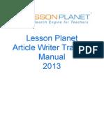 Article Writer Training Manual 2013