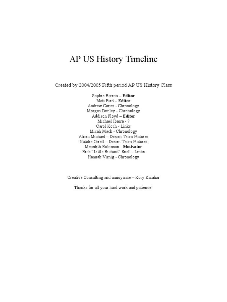 Apush Timeline Abraham Lincoln World War Ii