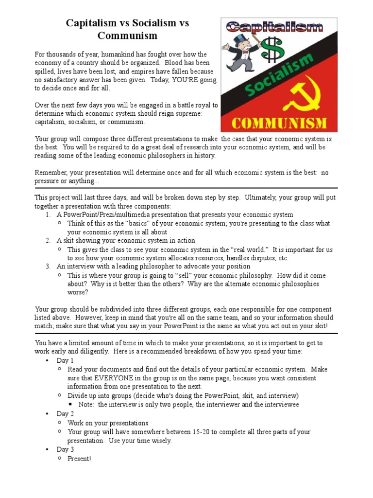 Capitalism Vs Communism Worksheet Livinghealthybulletin