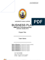 Business Plan UniKL Template - Jan2013