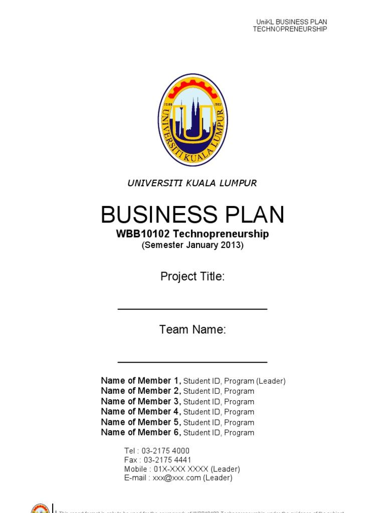 Business Plan Unikl Template Jan2013 Strategic Management Expense