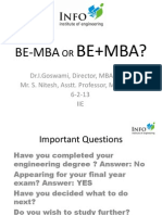 Just B.E or B.E+MBA