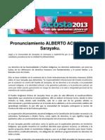 Pronunciamiento Alberto Acosta en Sarayacu