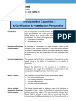 China - Incorporation Capacities - A Certification & Notarization Perspective