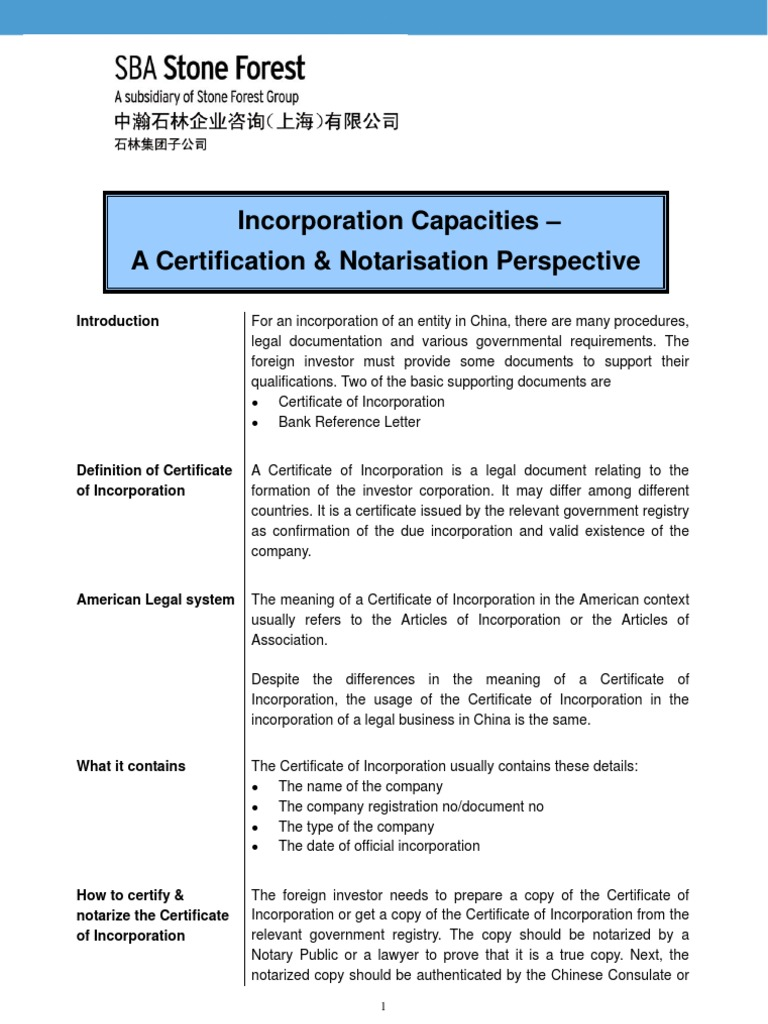 China Incorporation Capacities A Certification Notarization