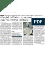Olimpiadi dell'italiano per contrastare l'impoverimento linguistico - Corriere Della Sera 12.02.2013