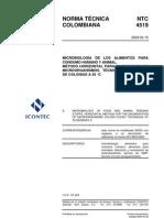metodo horizontal para el recuento de microorganismo tecnica de recuento de colonias a 30ºc NTC 4519