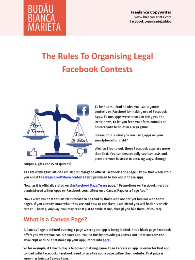 The rules to organising legal contests on facebook facebook websites fandeluxe Images