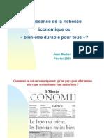 """Croissance de la richesse économique ou """"bien-être durable pour tous"""" ?"""