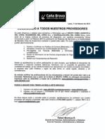 Grupo Chira - Comunicado a Proveedores