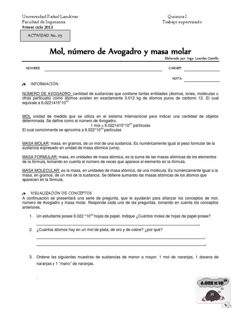 Trabajo Supervisado Mol Avogadro y Masa Molarversion Alumno
