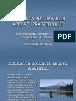 Influenta Poluantilor Apei Asupra Mediului