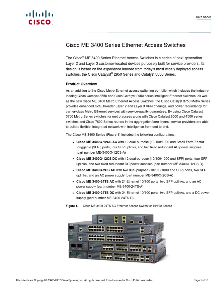 Cisco ME 3400 Series Ethernet Access Switches | Network Switch