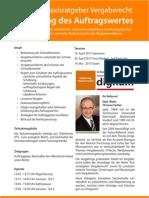 Seminar Praxisratgeber Vergaberecht - Schätzung des Auftragswertes