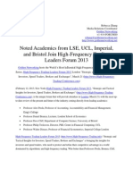 Noted Academics From LSE UCL Imperial and Bristol Join High-Frequency Trading Leaders Forum 2013