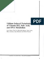 Lithium Induced Perturbations of Vitamin B12, Folic Acid, and DNA Metabolism