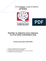 Planifier La Redaction Dun Memoire