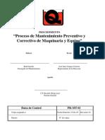 PR-MT-01 Proceso de Mantenimiento Preventivo y Correctivo de Maquinaria y Equipo