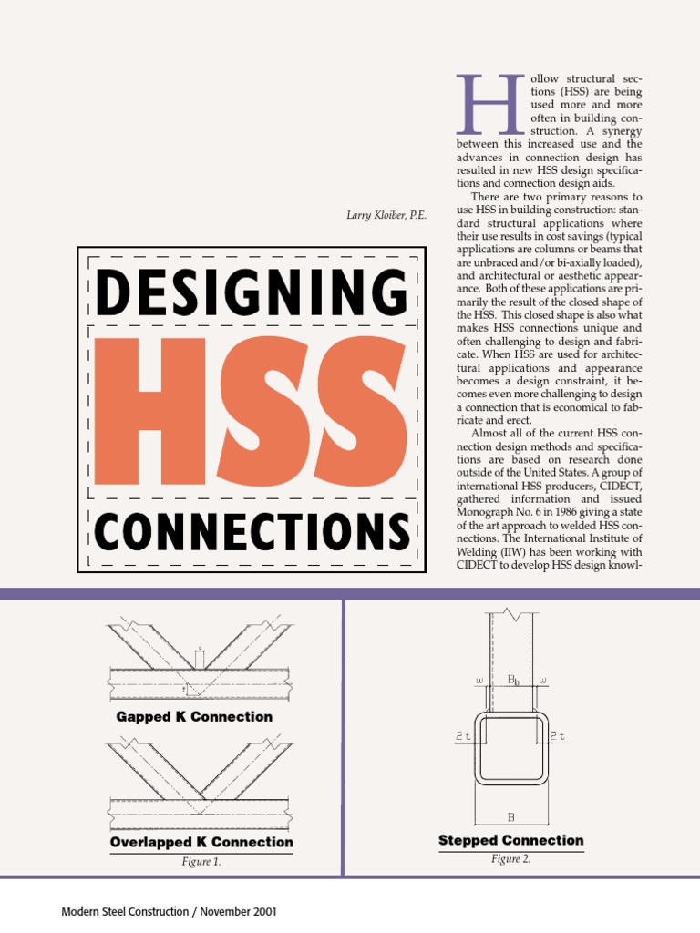 designing hss connections truss structural steel rh scribd com AISC Steel Manual 15th Edition AISC Steel Manual
