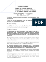 Clising Statement of Rachmat Witoelar-UN Climate Change Meeting Dec 2007