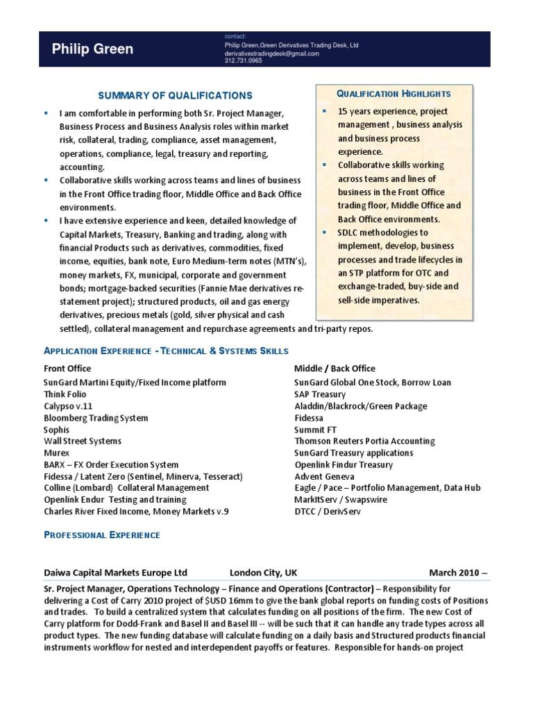 resume money market trader porter resumes daily organizational