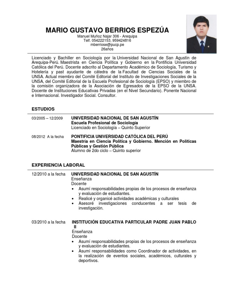 Wonderful Modelo De Curriculum Vitae Filetype Doc Gallery Entry