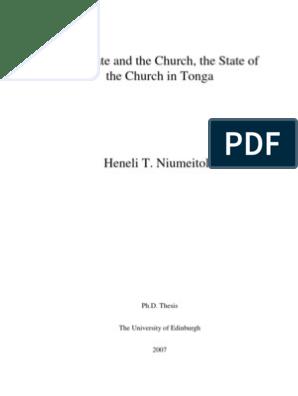 10) State and Church in Tonga | Tonga | Methodism