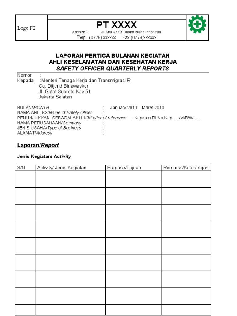 Form Laporan Ak3 Contoh Format