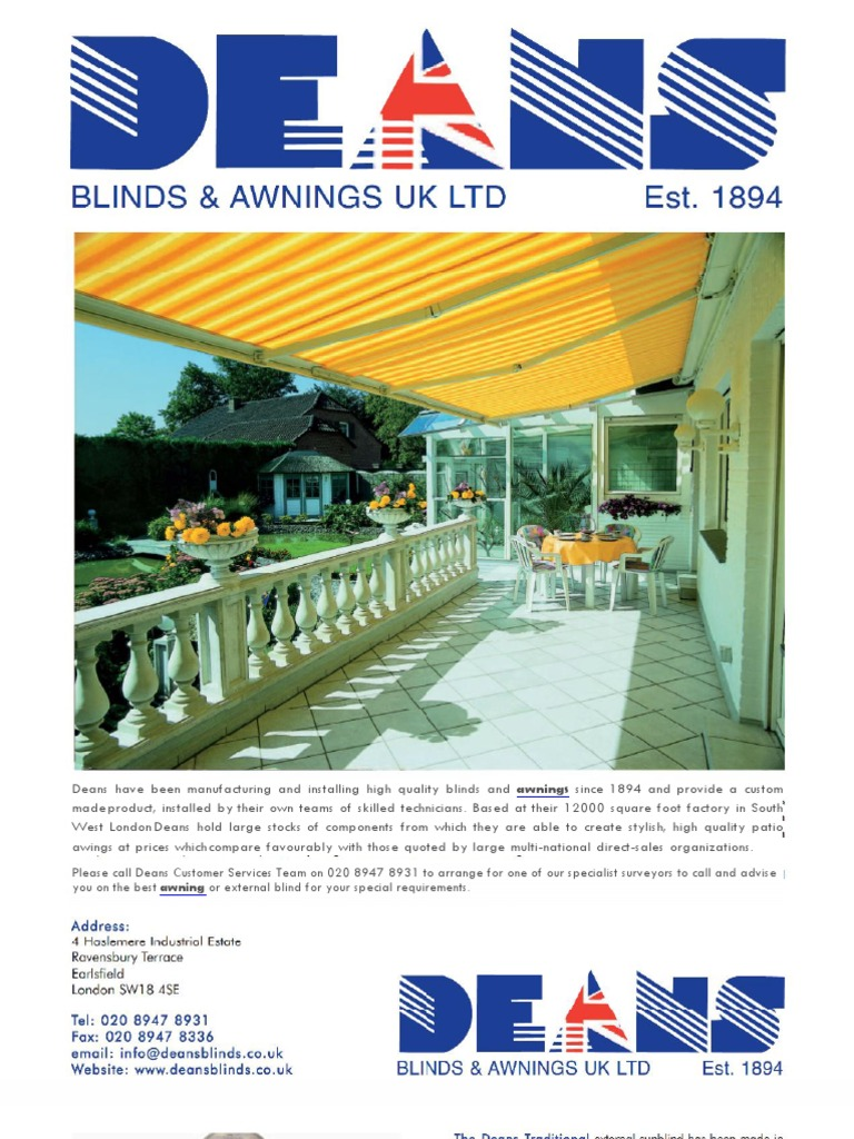 Awnings From Deans Nature
