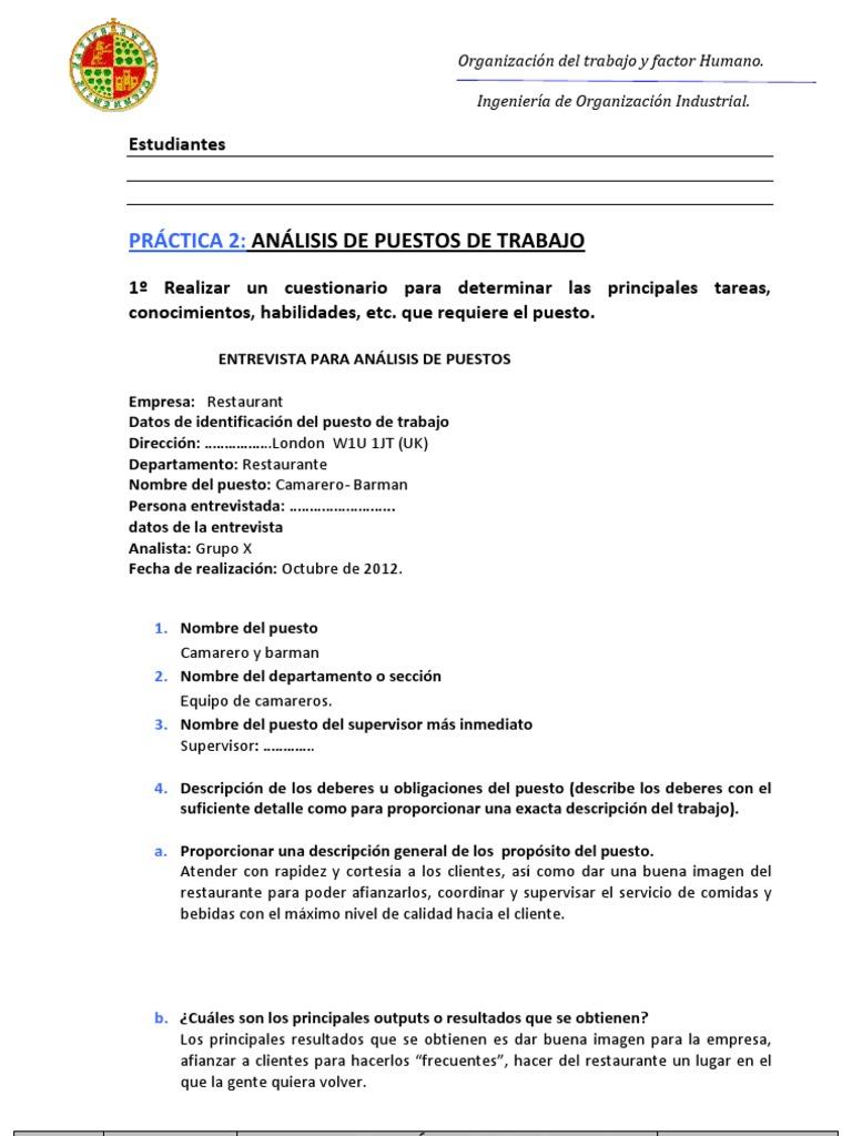 Famoso Ejemplo Deberes De Camarera Bosquejo - Colección De ...