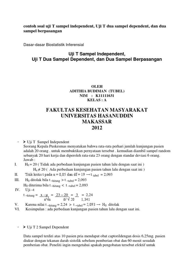 Contoh Soal Uji T Sampel Independent