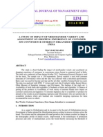 A Study of Impact of Merchandise Variety and Assostment on Shopping Experience of Customers