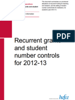 Recurrent grants and student number controls for 2012-13