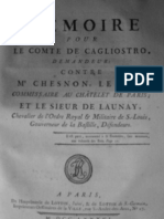 Cagliostro Memoire Contre Chesnon et de Launay