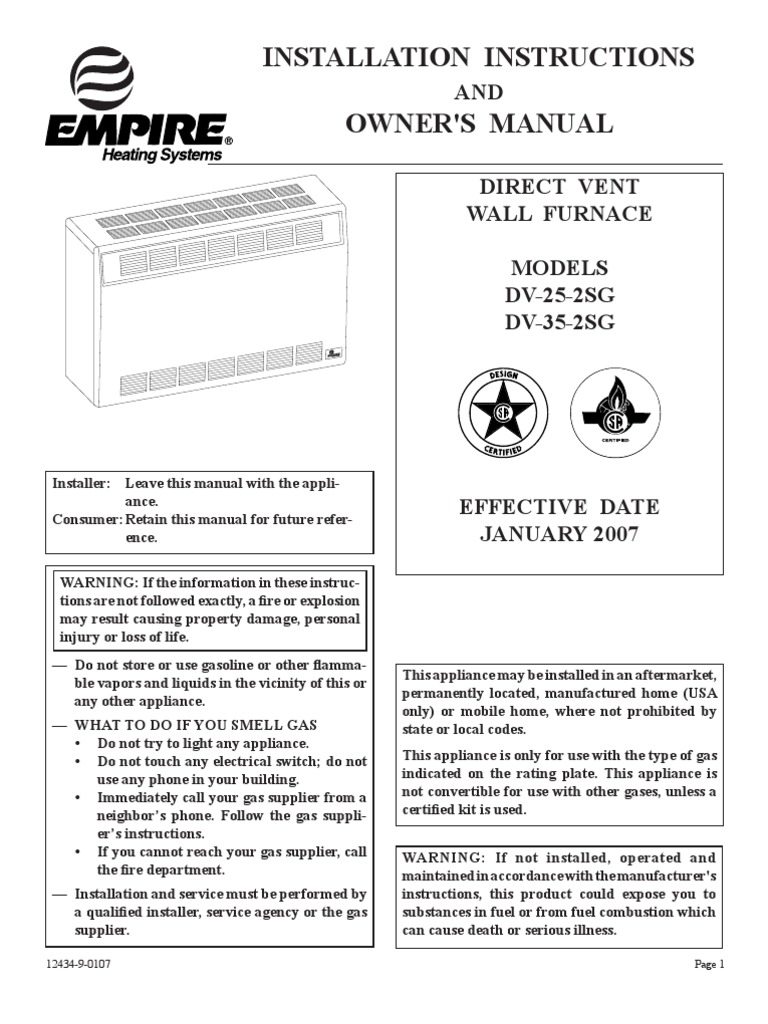 Empire Dv 25 2sg Thermostat Furnace Wall Heater Wiring
