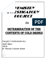 Determination of Contents of Cold Drink -Class 12 Chemistry Project