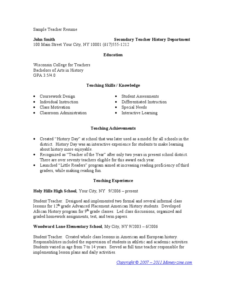 Student Teaching Resume Template Sample Teacher Resumes