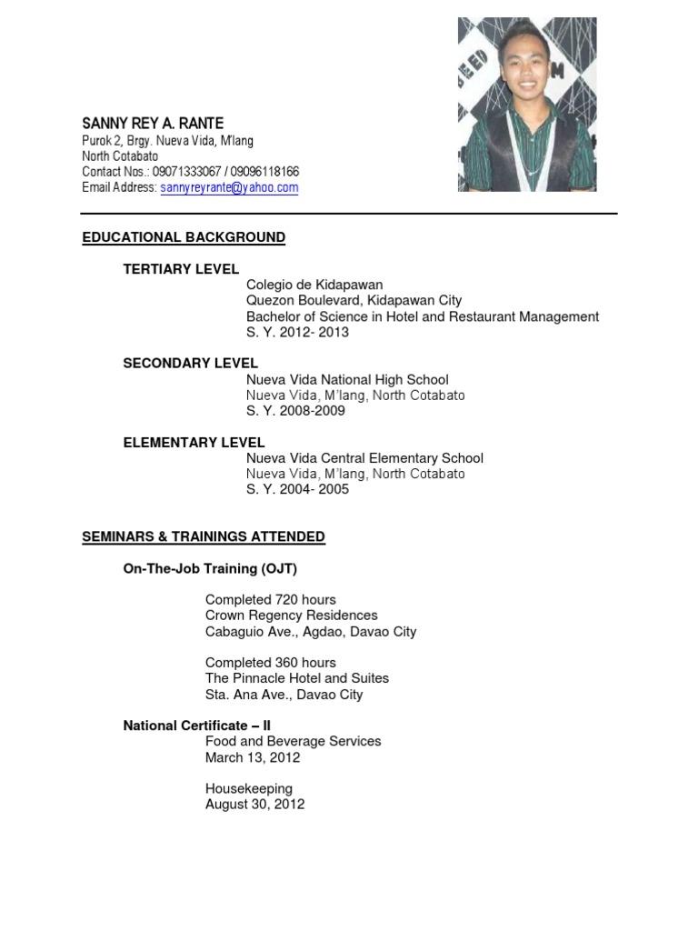 BSHRM GraduateResume