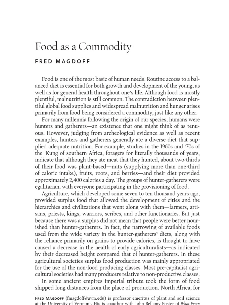 Food As A Commodity By Magdoff Agriculture Hunter Gatherer border=