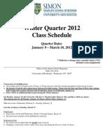 Winter Quarter 2012 Class Schedule 010612